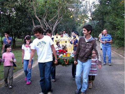 A Guatemala Christmas Posada procession